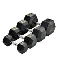 Шестигранные прорезиненные гантели Rising Rubber Hexagon Dumbbell